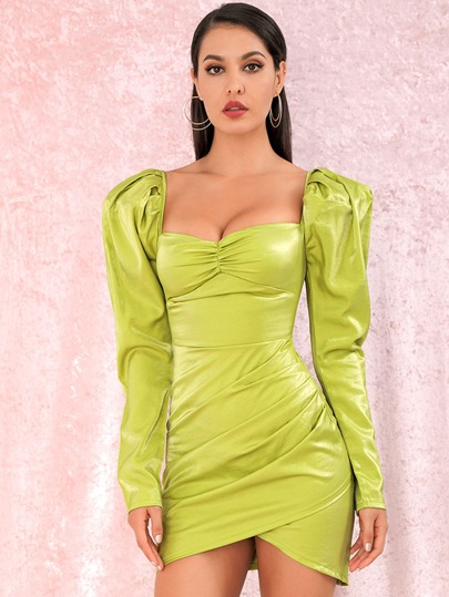 Gigot Sleeve Ruched Wrap Bodycon Dress